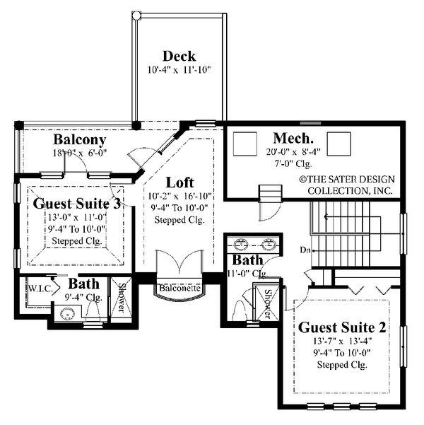 Home Plan - Mediterranean Floor Plan - Upper Floor Plan #930-22