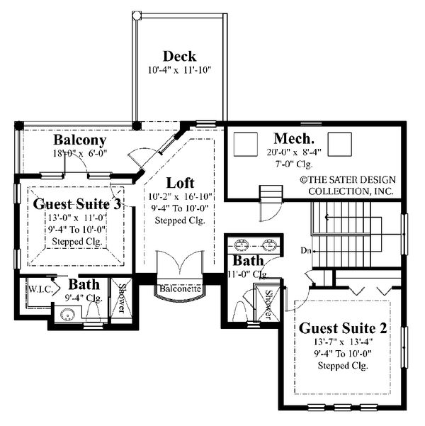 Mediterranean Floor Plan - Upper Floor Plan Plan #930-22