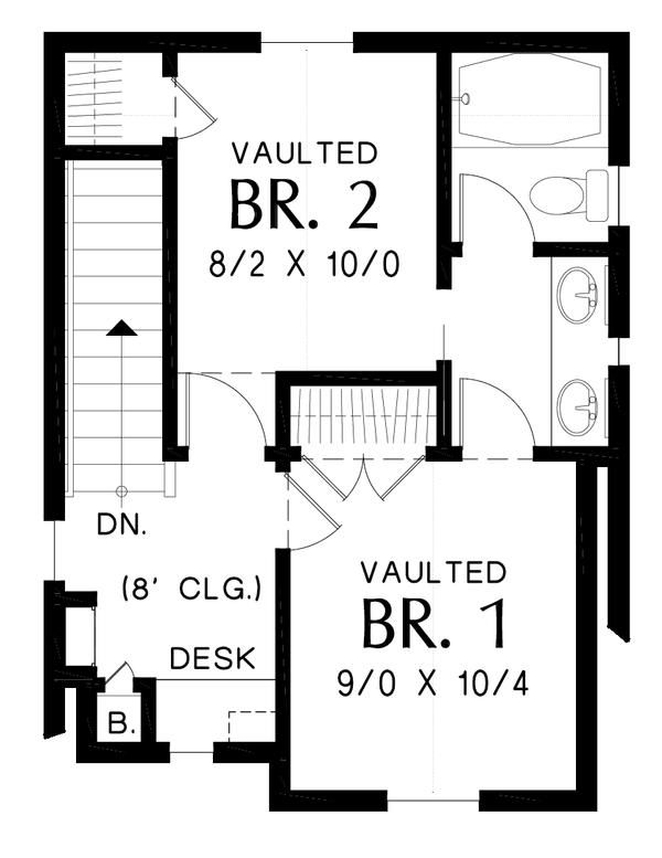 Cottage Floor Plan - Upper Floor Plan Plan #48-1010