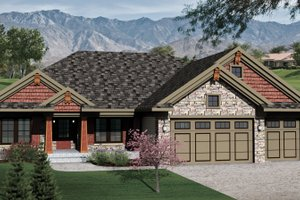 Architectural House Design - Bungalow Exterior - Front Elevation Plan #70-1070