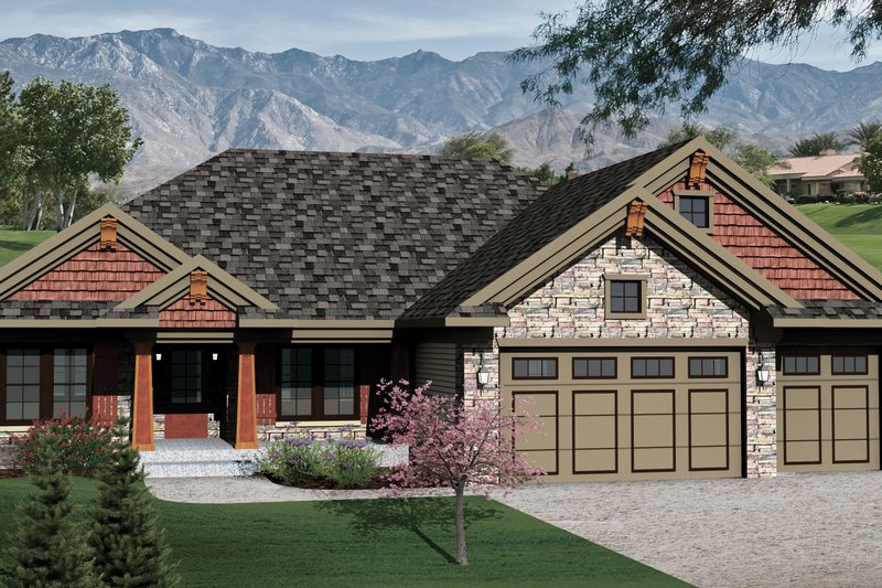 Bungalow Exterior - Front Elevation Plan #70-1070 - Houseplans.com
