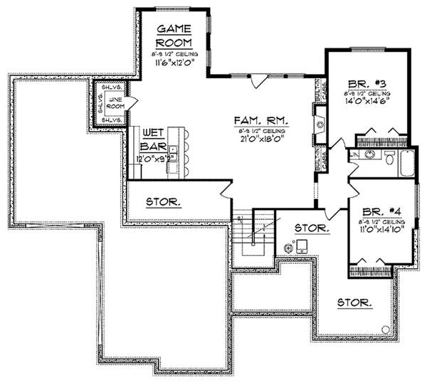 Craftsman Floor Plan - Lower Floor Plan Plan #70-919