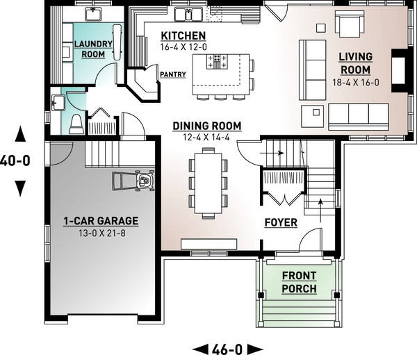 Traditional Floor Plan - Main Floor Plan Plan #23-2285