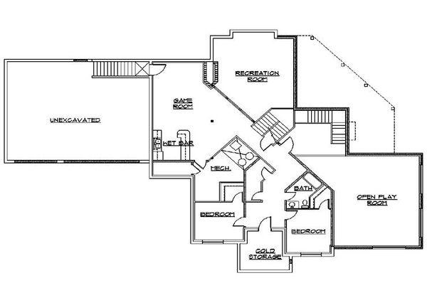 Dream House Plan - Traditional Floor Plan - Lower Floor Plan #5-433