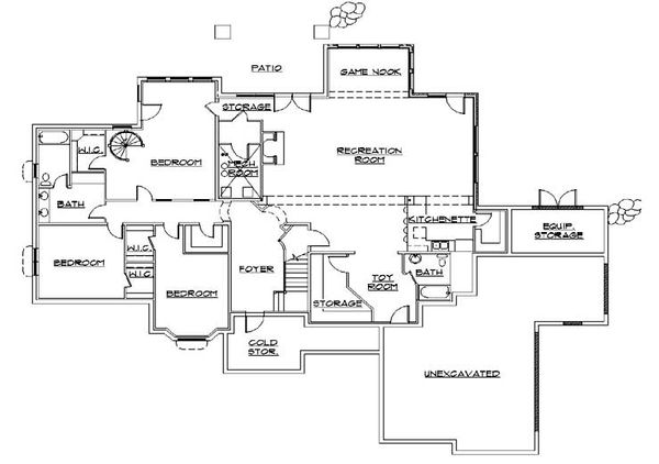 House Plan Design - European Floor Plan - Lower Floor Plan #5-424