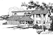 Modern Style House Plan - 4 Beds 3 Baths 2526 Sq/Ft Plan #60-141 Exterior - Front Elevation