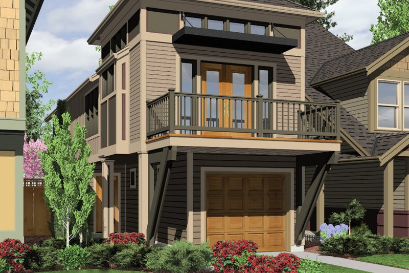 Craftsman Style House Plan - 2 Beds 2 Baths 1203 Sq/Ft Plan #48-569 Exterior - Front Elevation