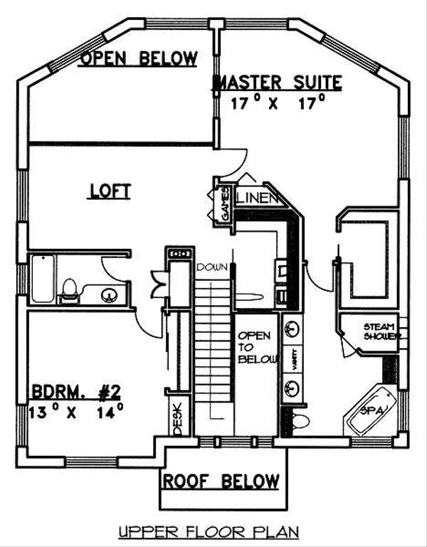 Traditional Floor Plan - Upper Floor Plan Plan #117-163