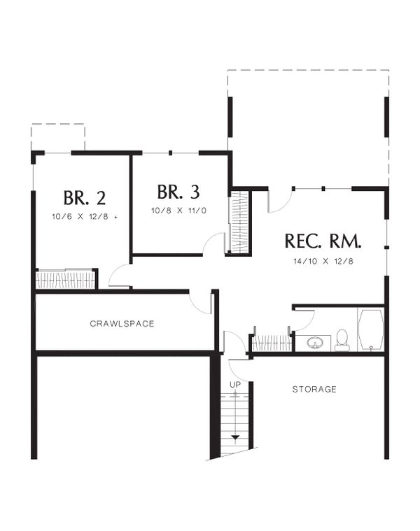 House Plan Design - Lower Level Floor Plan - 2000 square foot Traditional home