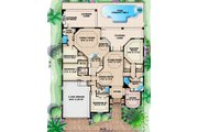 Mediterranean Style House Plan - 4 Beds 3 Baths 2727 Sq/Ft Plan #27-416 Floor Plan - Main Floor Plan