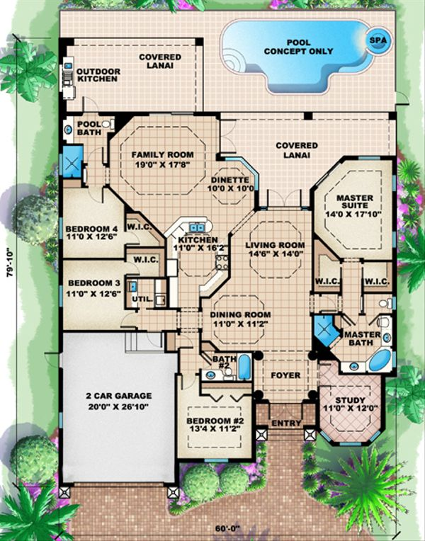 Mediterranean Floor Plan - Main Floor Plan Plan #27-416
