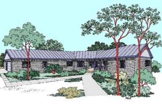 Ranch Exterior - Front Elevation Plan #60-480