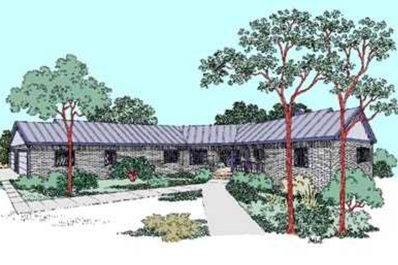 Ranch Exterior - Front Elevation Plan #60-480 - Houseplans.com