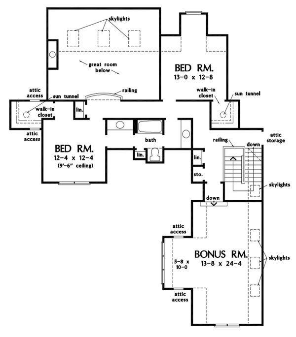 Craftsman Floor Plan - Upper Floor Plan Plan #929-1110