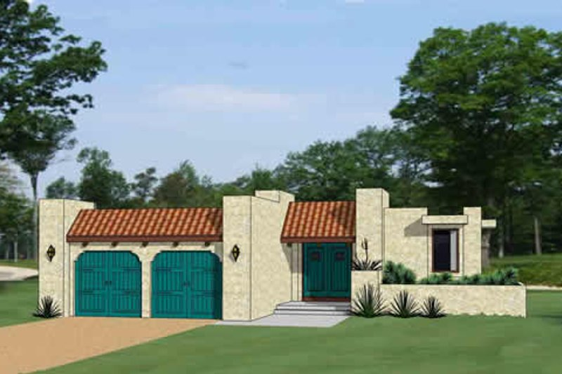 Adobe / Southwestern Style House Plan - 3 Beds 2.5 Baths 1597 Sq/Ft Plan #116-292 Exterior - Front Elevation
