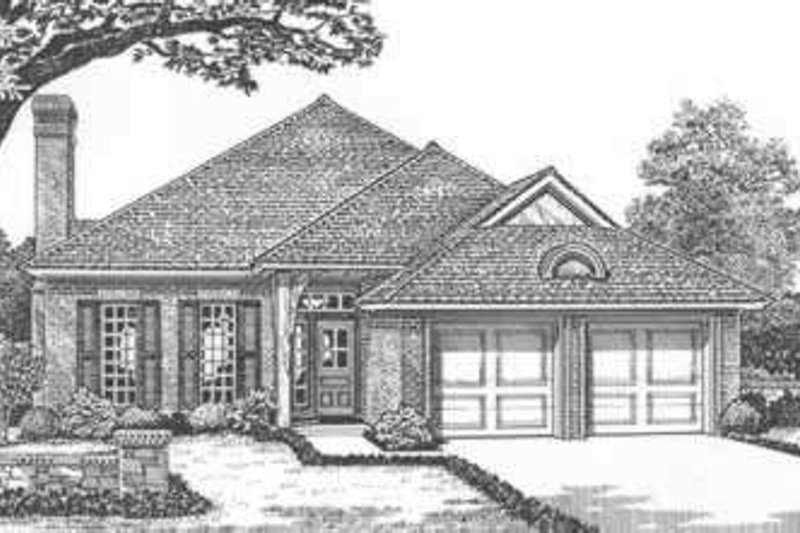 European Style House Plan - 3 Beds 2 Baths 1648 Sq/Ft Plan #310-398 Exterior - Front Elevation