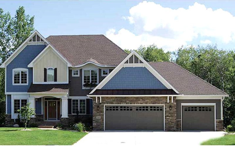 Traditional Style House Plan - 4 Beds 3.5 Baths 3074 Sq/Ft Plan #320-487 Exterior - Front Elevation