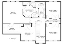 Farmhouse Floor Plan - Upper Floor Plan Plan #1060-1