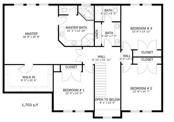 Farmhouse Floor Plan - Upper Floor Plan Plan #1060-1