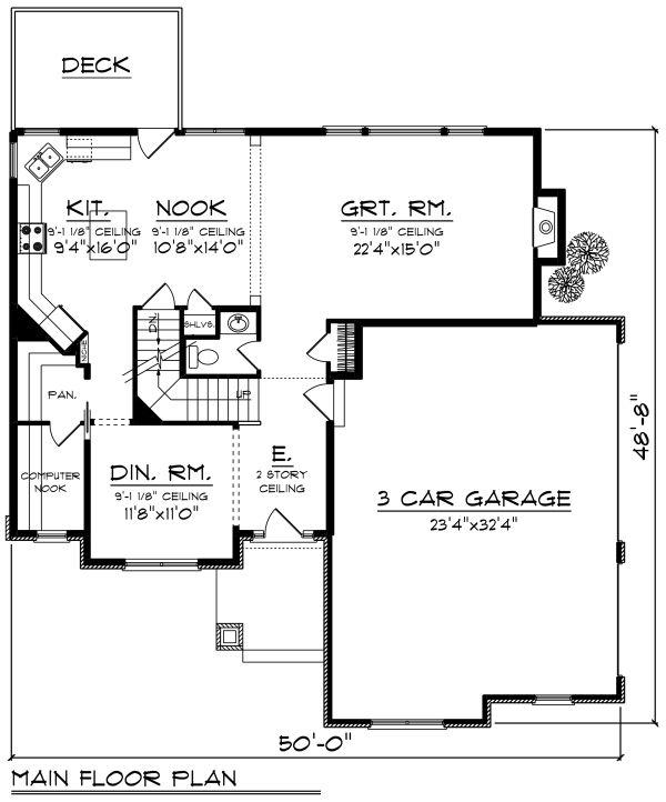 Craftsman Floor Plan - Main Floor Plan #70-1278