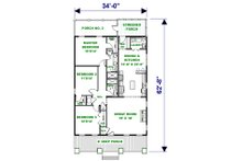 Craftsman Floor Plan - Main Floor Plan Plan #44-232