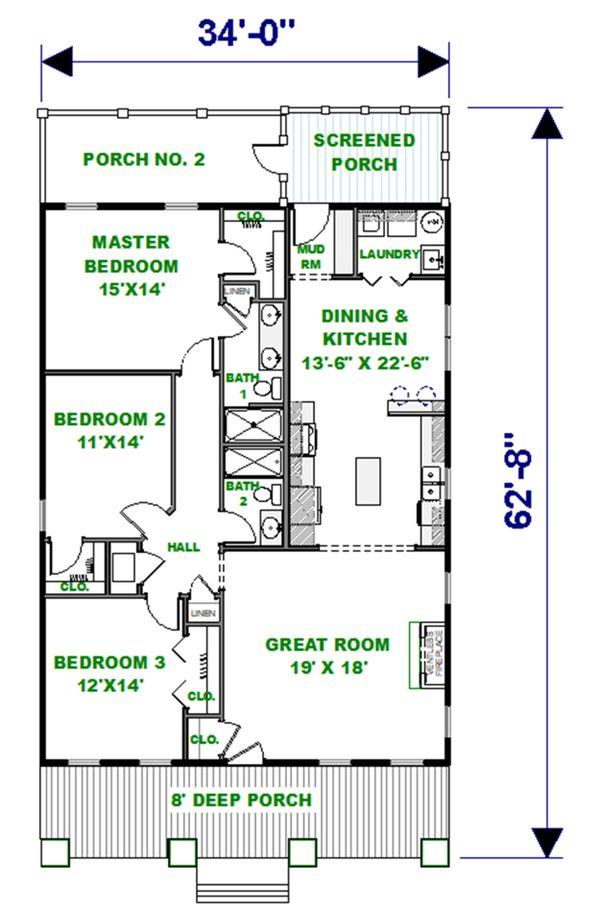 Craftsman Floor Plan - Main Floor Plan #44-232