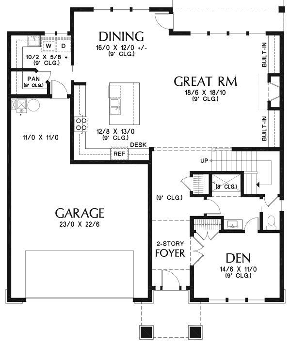 Contemporary Floor Plan - Main Floor Plan Plan #48-963