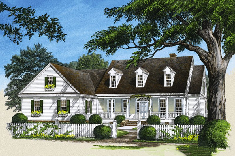 Country Style House Plan - 4 Beds 3 Baths 3129 Sq/Ft Plan #137-103 Exterior - Front Elevation