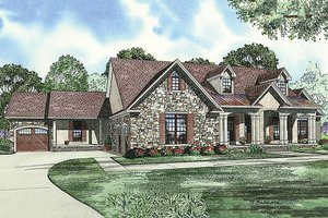 European Exterior - Front Elevation Plan #17-2509