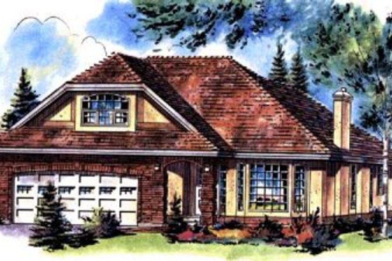 Traditional Style House Plan - 3 Beds 2 Baths 1935 Sq/Ft Plan #18-190 Exterior - Front Elevation