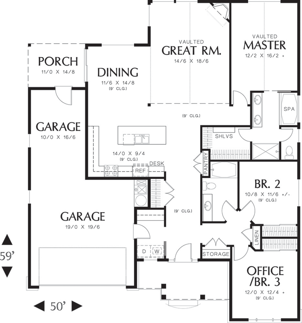 Craftsman style house plan 3 beds 2 baths 1800 sq ft for 1800 50 floor