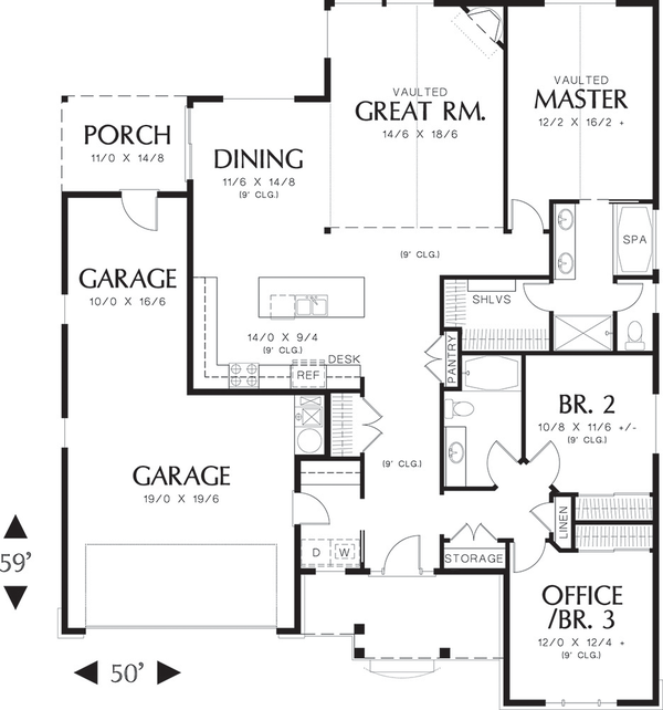 Craftsman Floor Plan - Main Floor Plan Plan #48-414