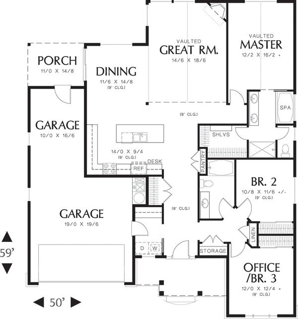 Craftsman Floor Plan - Main Floor Plan Plan #48-414