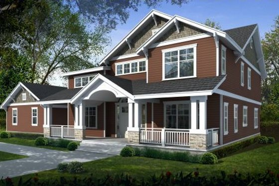 Craftsman Exterior - Front Elevation Plan #100-459