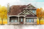 Traditional Style House Plan - 4 Beds 2 Baths 1387 Sq/Ft Plan #80-105 Exterior - Front Elevation