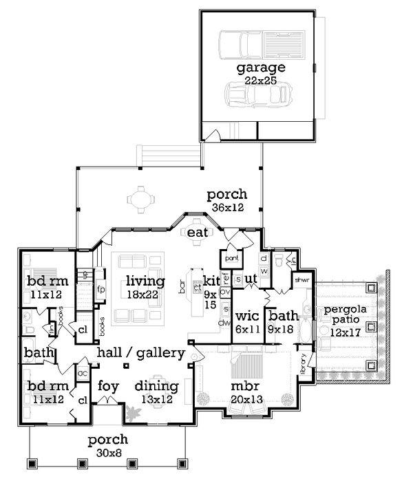 Dream House Plan - Craftsman Floor Plan - Main Floor Plan #45-377