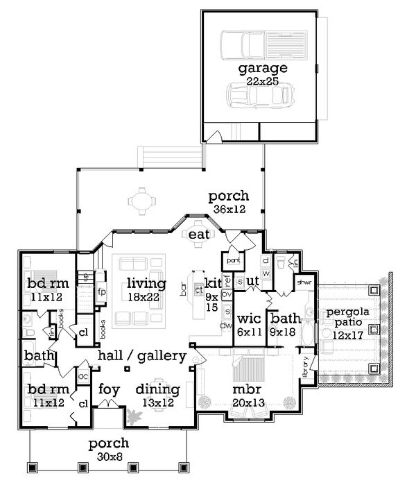Craftsman Floor Plan - Main Floor Plan Plan #45-377
