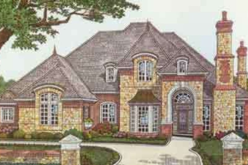 European Style House Plan - 4 Beds 3.5 Baths 3696 Sq/Ft Plan #310-339 Exterior - Front Elevation