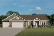 Ranch Style House Plan - 3 Beds 2.5 Baths 2215 Sq/Ft Plan #1064-47 Exterior - Front Elevation