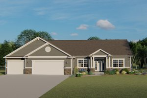 Ranch Exterior - Front Elevation Plan #1064-47