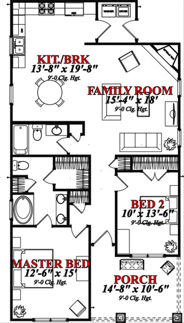 Bungalow Floor Plan - Main Floor Plan Plan #63-295