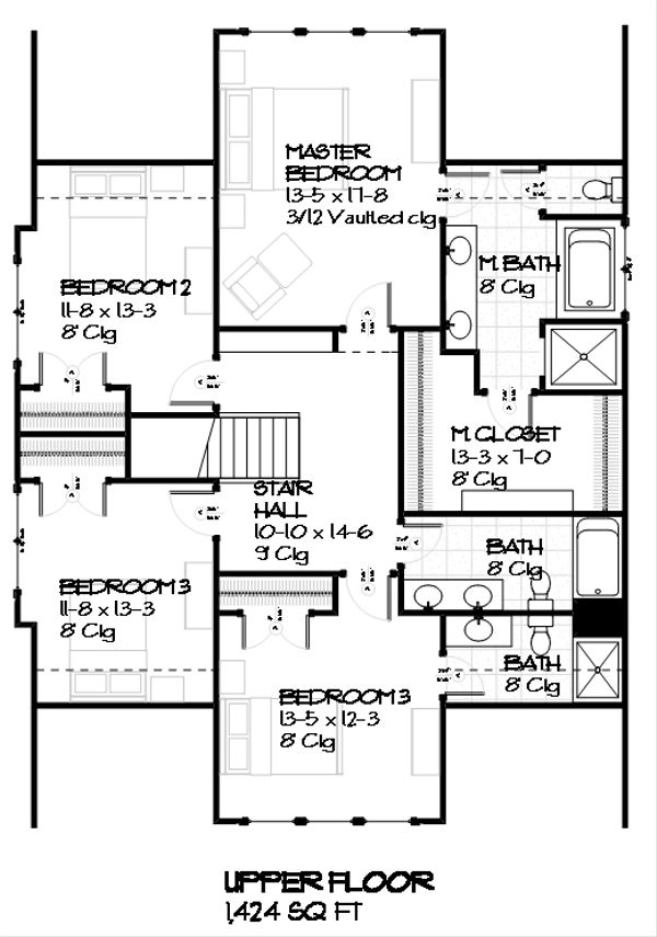 Craftsman Floor Plan - Upper Floor Plan Plan #901-4