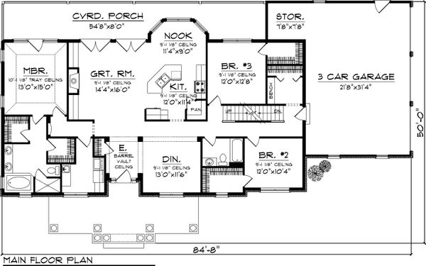Country Floor Plan - Main Floor Plan Plan #70-1050