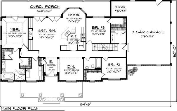 Country Floor Plan - Main Floor Plan #70-1050