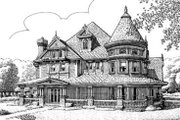 Victorian Style House Plan - 4 Beds 4.5 Baths 3435 Sq/Ft Plan #410-117 Exterior - Front Elevation