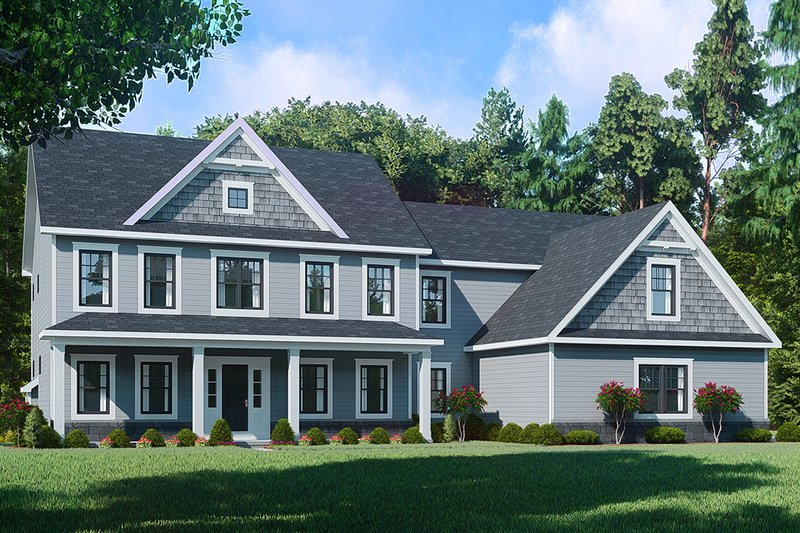 Farmhouse Style House Plan - 5 Beds 3 Baths 3549 Sq/Ft Plan #1010-248 Exterior - Front Elevation