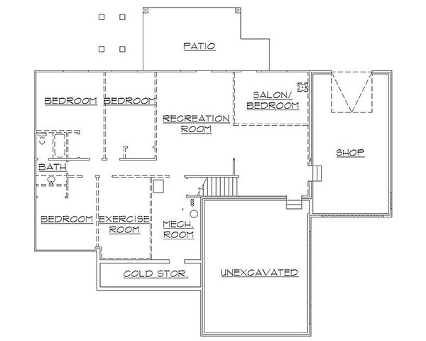 Traditional Floor Plan - Lower Floor Plan Plan #5-245