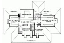 Upper level floor plan - 3100 square foot Southern home