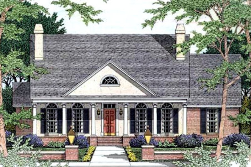Southern Exterior - Front Elevation Plan #406-192 - Houseplans.com
