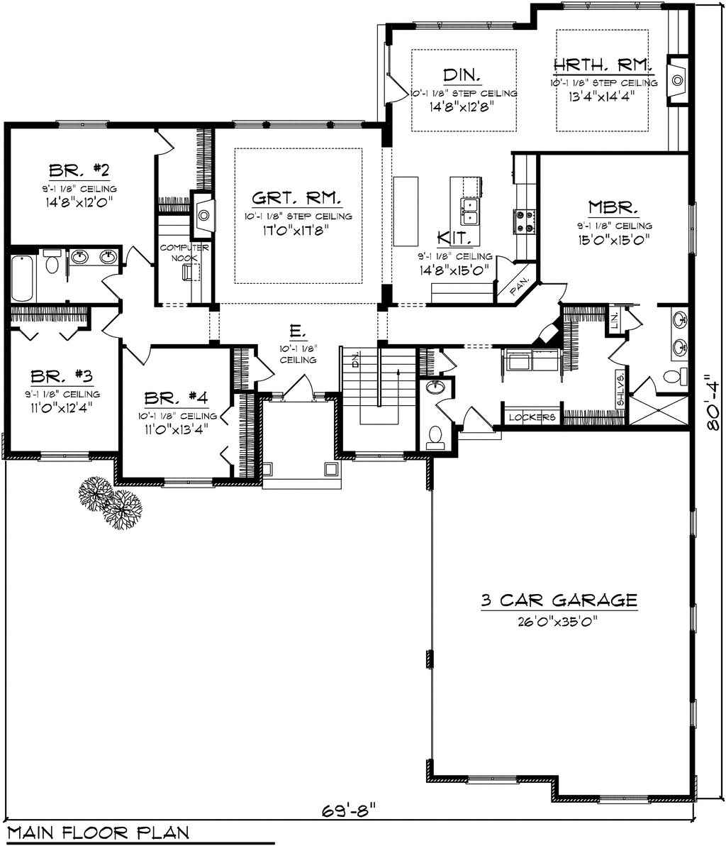 4 Beds 2.5 Baths 2614 Sq/Ft Plan